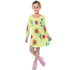 Flowers Fabric Design Kids  Long Sleeve Velvet Dress by BangZart
