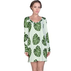 Leaf Pattern Seamless Background Long Sleeve Nightdress
