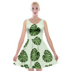 Leaf Pattern Seamless Background Velvet Skater Dress