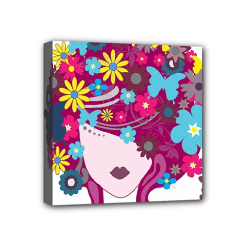 Beautiful Gothic Woman With Flowers And Butterflies Hair Clipart Mini Canvas 4  X 4  by BangZart