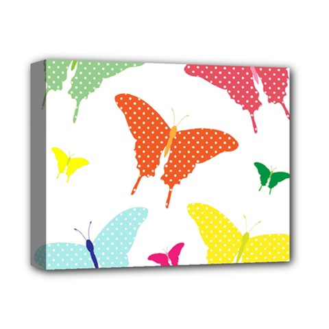 Beautiful Colorful Polka Dot Butterflies Clipart Deluxe Canvas 14  X 11  by BangZart