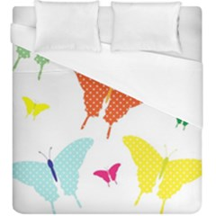 Beautiful Colorful Polka Dot Butterflies Clipart Duvet Cover (king Size) by BangZart