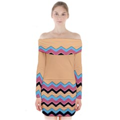 Chevrons Patterns Colorful Stripes Long Sleeve Off Shoulder Dress by BangZart