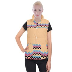 Chevrons Patterns Colorful Stripes Women s Button Up Puffer Vest