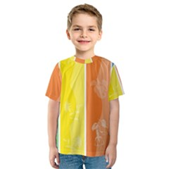 Floral Colorful Seasonal Banners Kids  Sport Mesh Tee