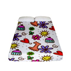 Cute Doodle Wallpaper Pattern Fitted Sheet (full/ Double Size) by BangZart