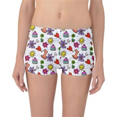 Cute Doodle Wallpaper Pattern Reversible Boyleg Bikini Bottoms by BangZart
