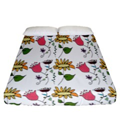 Handmade Pattern With Crazy Flowers Fitted Sheet (queen Size) by BangZart