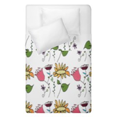 Handmade Pattern With Crazy Flowers Duvet Cover Double Side (single Size) by BangZart