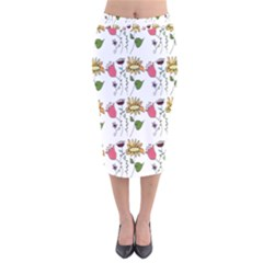 Handmade Pattern With Crazy Flowers Velvet Midi Pencil Skirt by BangZart