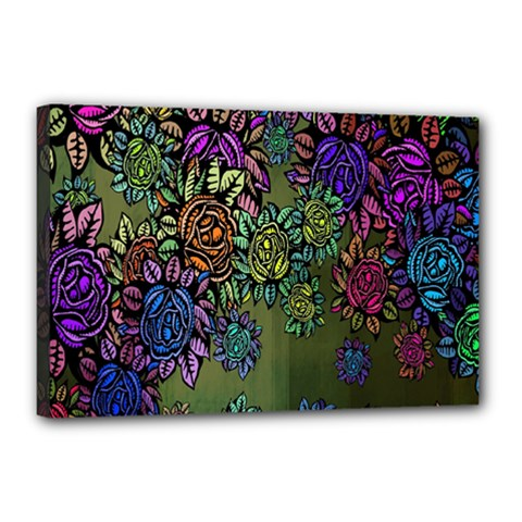 Grunge Rose Background Pattern Canvas 18  X 12  by BangZart