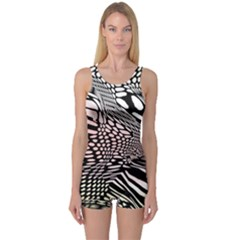Abstract Fauna Pattern When Zebra And Giraffe Melt Together One Piece Boyleg Swimsuit by BangZart
