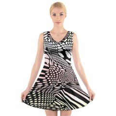 Abstract Fauna Pattern When Zebra And Giraffe Melt Together V-neck Sleeveless Skater Dress by BangZart