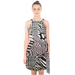 Abstract Fauna Pattern When Zebra And Giraffe Melt Together Halter Collar Waist Tie Chiffon Dress by BangZart