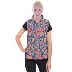Floral Seamless Pattern Vector Texture Women s Button Up Puffer Vest