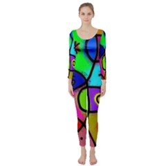 Digitally Painted Colourful Abstract Whimsical Shape Pattern Long Sleeve Catsuit
