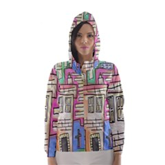 A Village Drawn In A Doodle Style Hooded Wind Breaker (women)