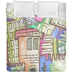 A Village Drawn In A Doodle Style Duvet Cover Double Side (california King Size) by BangZart
