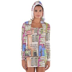 A Village Drawn In A Doodle Style Women s Long Sleeve Hooded T-shirt by BangZart