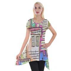 A Village Drawn In A Doodle Style Short Sleeve Side Drop Tunic