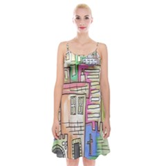 A Village Drawn In A Doodle Style Spaghetti Strap Velvet Dress