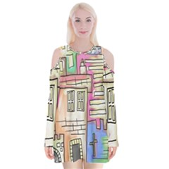 A Village Drawn In A Doodle Style Velvet Long Sleeve Shoulder Cutout Dress by BangZart