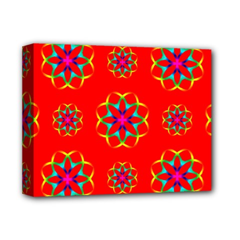 Rainbow Colors Geometric Circles Seamless Pattern On Red Background Deluxe Canvas 14  X 11  by BangZart