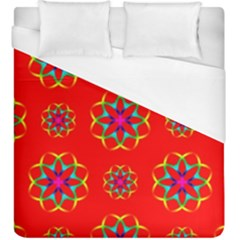Rainbow Colors Geometric Circles Seamless Pattern On Red Background Duvet Cover (king Size)