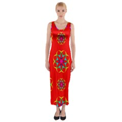 Rainbow Colors Geometric Circles Seamless Pattern On Red Background Fitted Maxi Dress