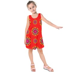 Rainbow Colors Geometric Circles Seamless Pattern On Red Background Kids  Sleeveless Dress by BangZart