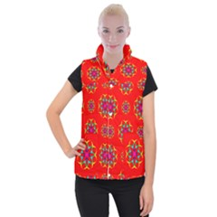 Rainbow Colors Geometric Circles Seamless Pattern On Red Background Women s Button Up Puffer Vest