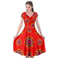 Rainbow Colors Geometric Circles Seamless Pattern On Red Background Cap Sleeve Wrap Front Dress
