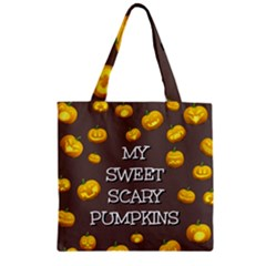 Hallowen My Sweet Scary Pumkins Zipper Grocery Tote Bag by BangZart