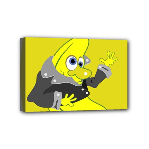 Funny Cartoon Punk Banana Illustration Mini Canvas 6  X 4