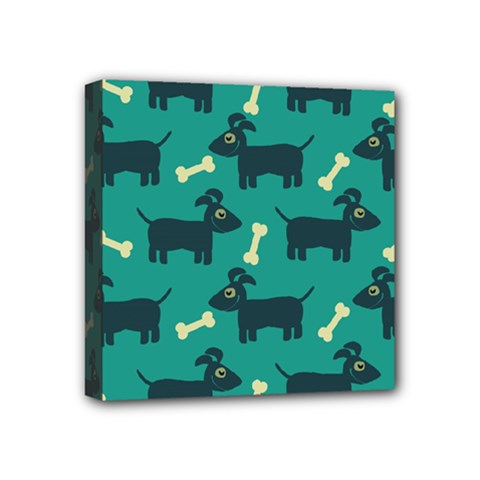 Happy Dogs Animals Pattern Mini Canvas 4  X 4
