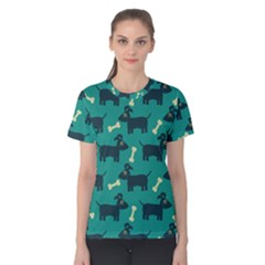 Happy Dogs Animals Pattern Women s Cotton Tee by BangZart
