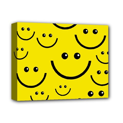 Digitally Created Yellow Happy Smile  Face Wallpaper Deluxe Canvas 14  X 11  by BangZart