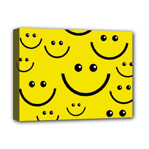 Digitally Created Yellow Happy Smile  Face Wallpaper Deluxe Canvas 16  X 12   by BangZart