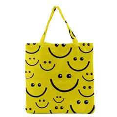 Digitally Created Yellow Happy Smile  Face Wallpaper Grocery Tote Bag by BangZart