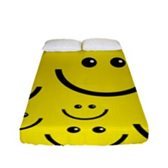 Digitally Created Yellow Happy Smile  Face Wallpaper Fitted Sheet (full/ Double Size) by BangZart