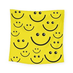 Digitally Created Yellow Happy Smile  Face Wallpaper Square Tapestry (small) by BangZart