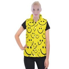 Digitally Created Yellow Happy Smile  Face Wallpaper Women s Button Up Puffer Vest