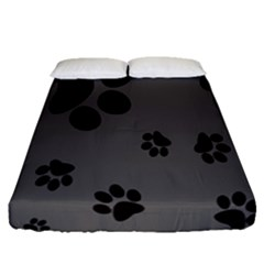 Dog Foodprint Paw Prints Seamless Background And Pattern Fitted Sheet (queen Size) by BangZart