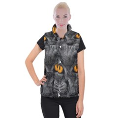 Cat Eyes Background Image Hypnosis Women s Button Up Puffer Vest