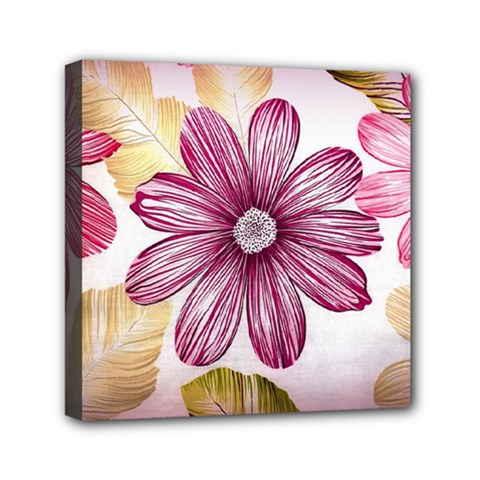 Flower Print Fabric Pattern Texture Mini Canvas 6  X 6  by BangZart
