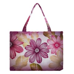 Flower Print Fabric Pattern Texture Medium Tote Bag by BangZart