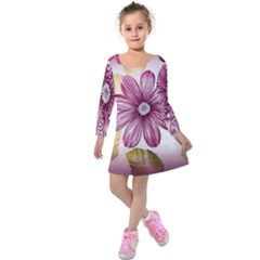 Flower Print Fabric Pattern Texture Kids  Long Sleeve Velvet Dress