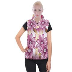 Flower Print Fabric Pattern Texture Women s Button Up Puffer Vest