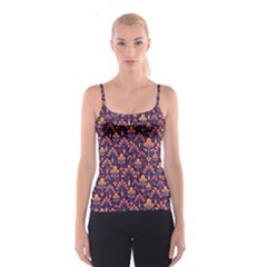 Abstract Background Floral Pattern Spaghetti Strap Top by BangZart