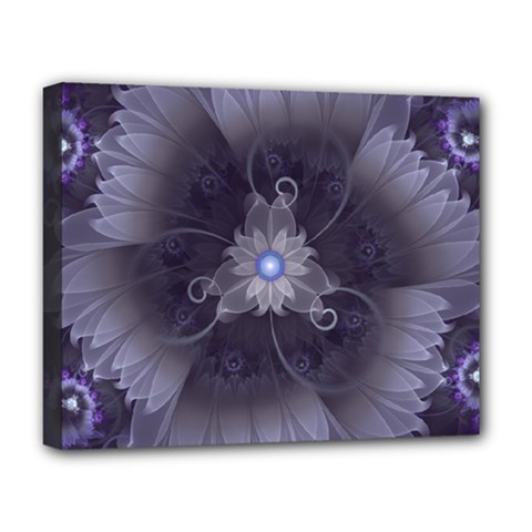 Amazing Fractal Triskelion Purple Passion Flower Deluxe Canvas 20  X 16   by jayaprime